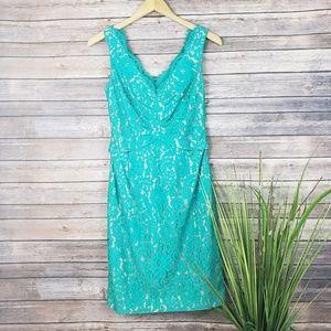 Eliza J Teal Lace Fringe Sheath Dress Size 4